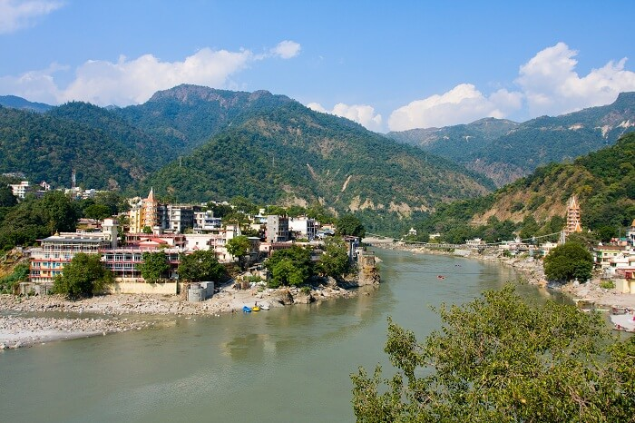 Holy Ganges river that flows through Rishikesh