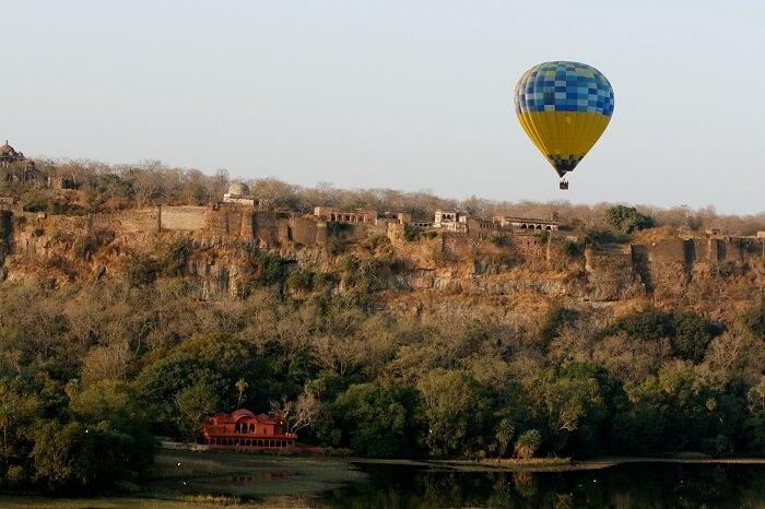 Beautiful scene of hot air ballooning in Rajasthan
