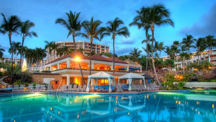 Poolside views of the grand Hotel Wailea
