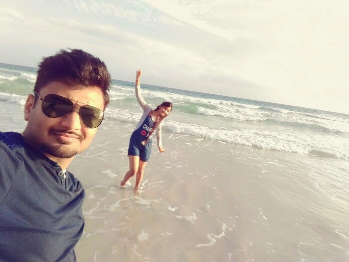 Vivek and his wife on a beach in Andaman