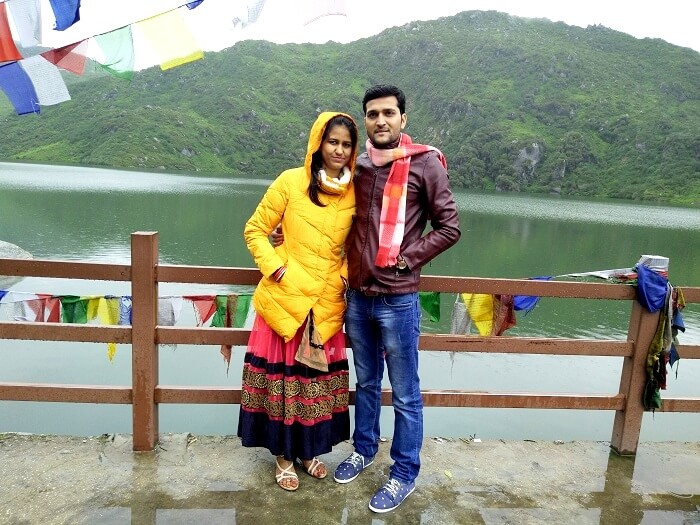 Pawan and his wife lakeside Tsomgo