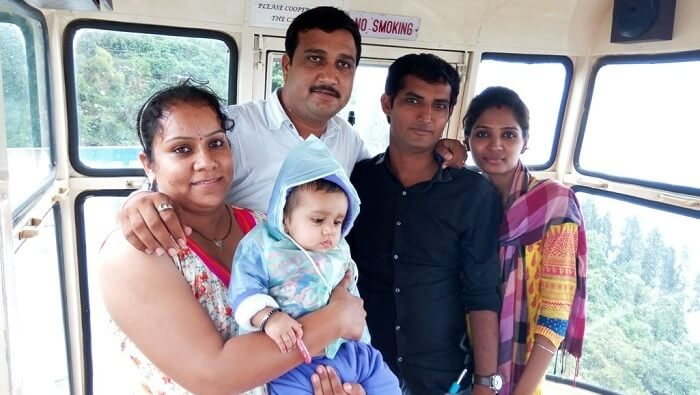 Pankaj and his family enjoying the gondola ride