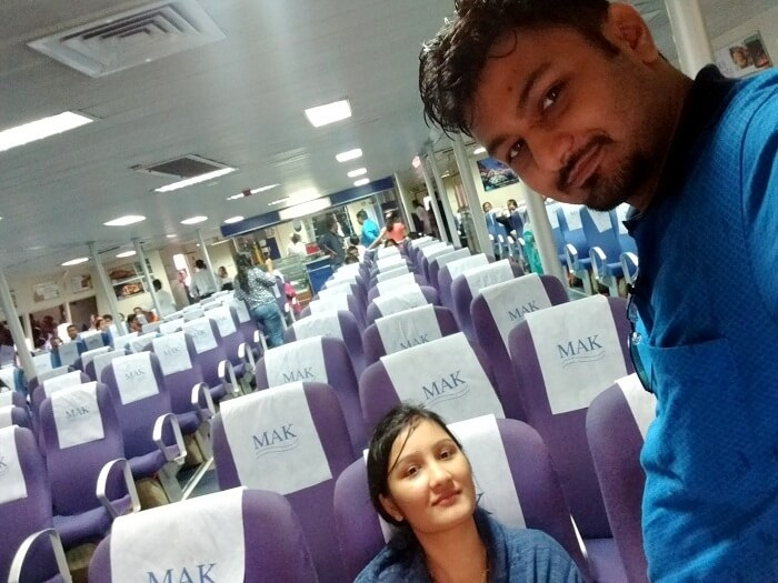 Vivek and his wife on a flight to Andaman