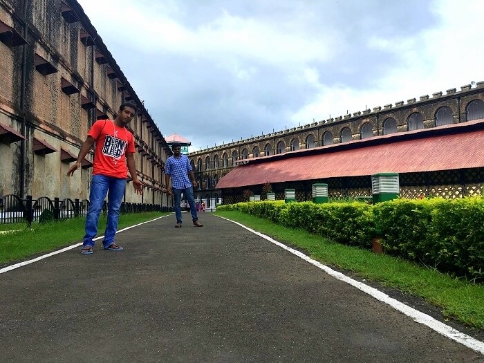 Jay and his friends at the Cellular jail in Andaman