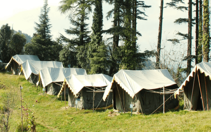 wiss cottage tents at the Kanatal Adventure Camp