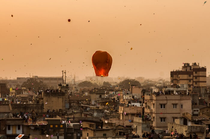 Hundreds of colorful kites flying over the state during Kite Festival in Rajasthan