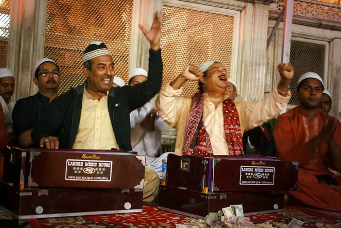 Qawwals at the Dargah singing singing some fine numbers of Qawwali