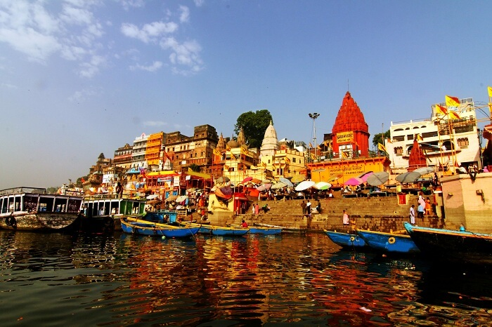 Morning at holy ghats of Varanasi in India