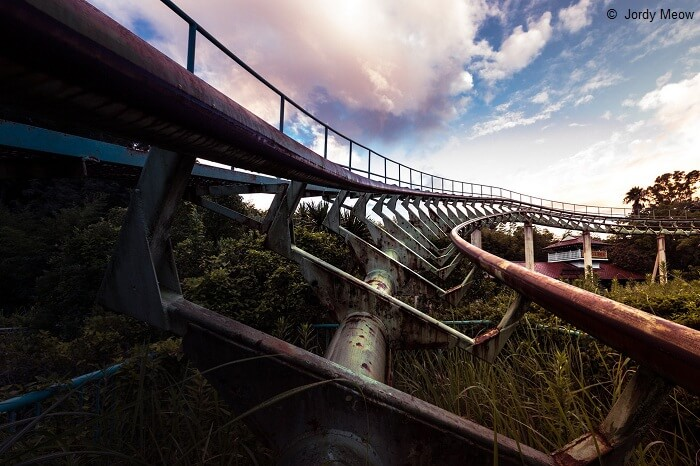 A snap of a roller coaster track at the Nara Dreamland Theme Park in Japan