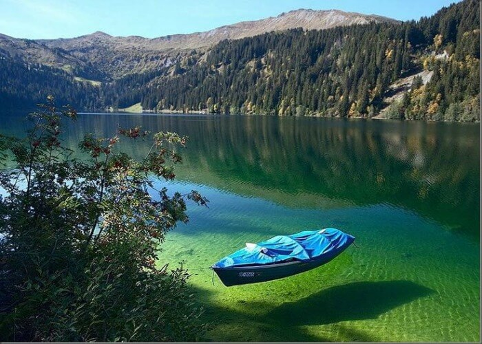 Crystal clear waters of blue lake in New Zealand