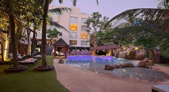 The outer pool deck of the Novotel Goa Resort & Spa