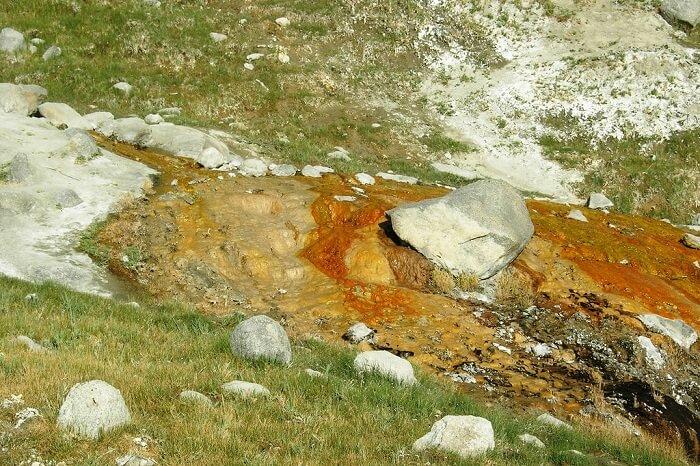 Panamik hot water springs in Ladakh
