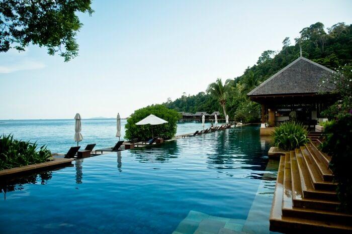 Outdoor pool deck of the Pangkor Laut Resort