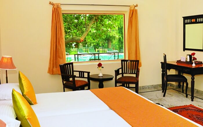 An inside view of a room at Raj Palace Resort in Ranthambore