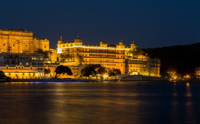 Lake Pichola at night