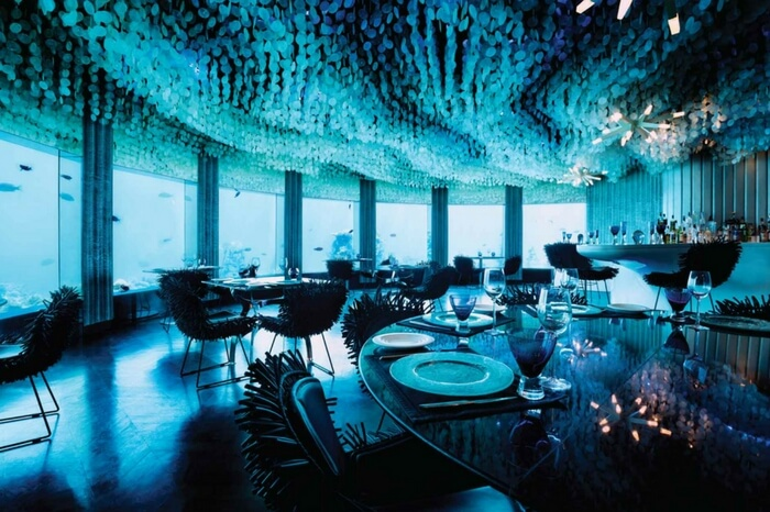 Interior view of Subsix- the underwater nightclub in Maldives