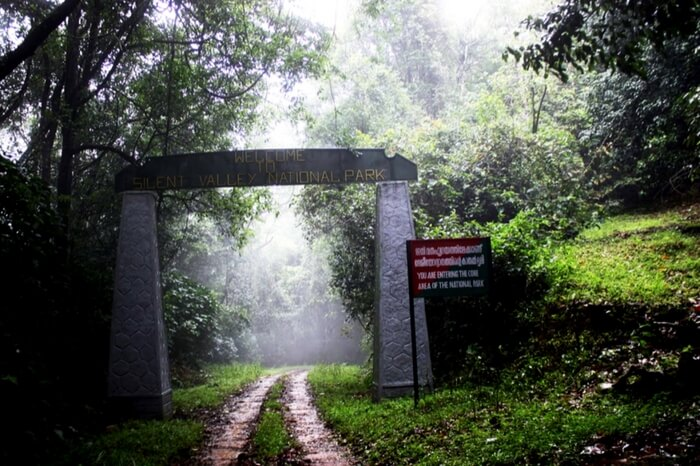 A front view of the entry gate of Silent Valley National Park