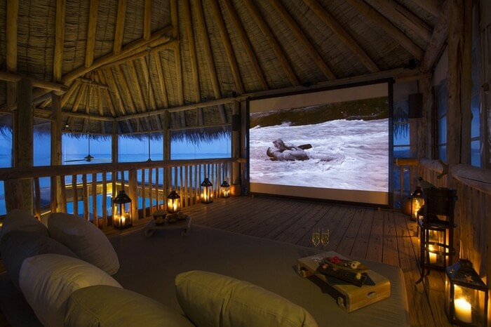 Jungle cinema at Gili Lankanfushi is a key attraction of nightlife in Maldives