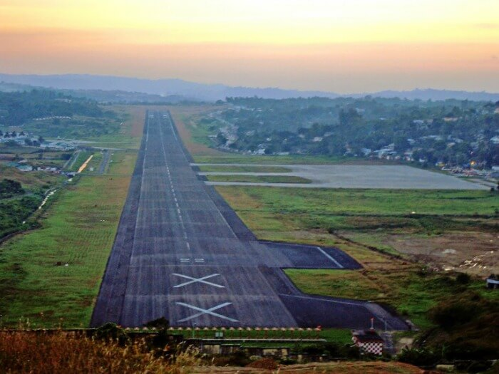 Early morning aerial view of Veer Savarkar International Airport at Port Blair