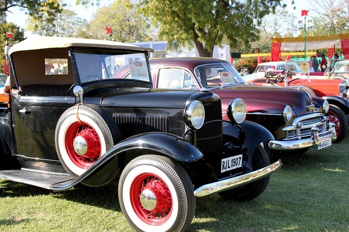 A fleet of vintage cars at display during one of the best events in Rajasthan - Vintage Car Rally