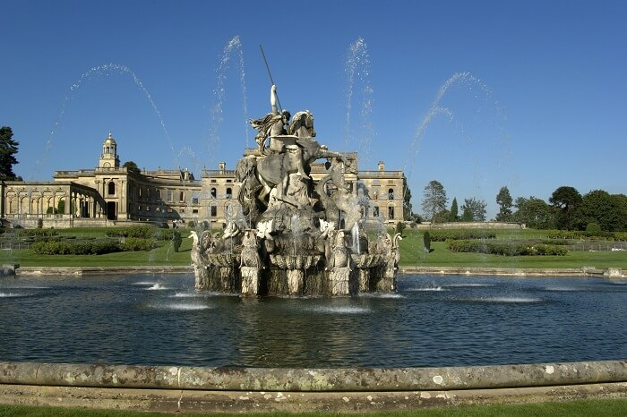 The Perseus and Andromeda fountain at the Witley Court Country House at Worcestershire in England