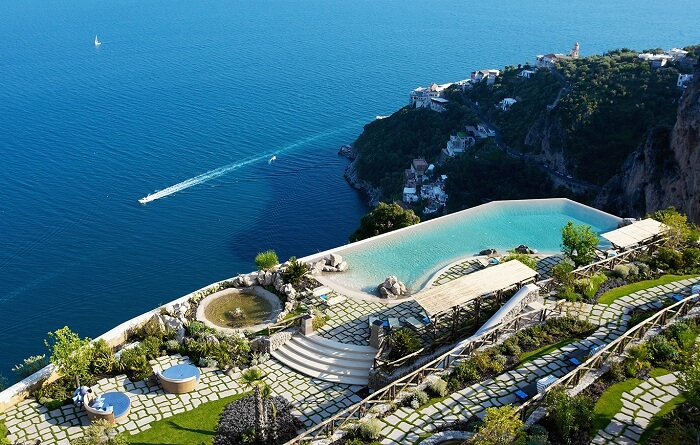 Exotic pool at Monastero Santa Rosa, Amalfi Coast, Italy