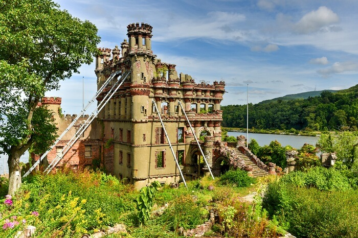 Ruins of the Bannerman Castle Armory on Pollepel Island in the Hudson River in New York