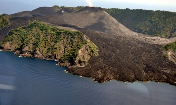 The lava flow at Barren Island