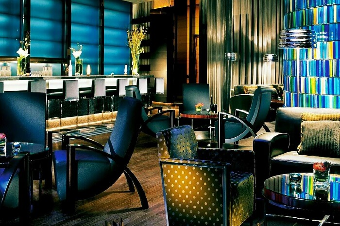 The chic Blue Bar at the Four Seasons hotel in Hong Kong
