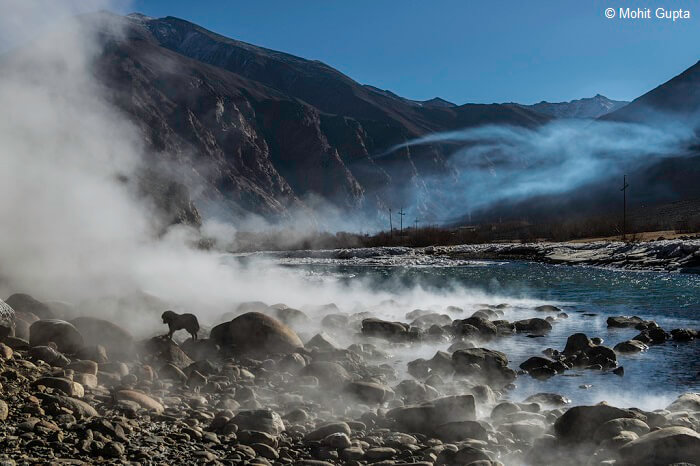 Photogenic view of Chumathang hot springs in Ladakh