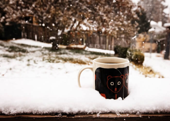 Have a cup of coffee witnessing the snowfall