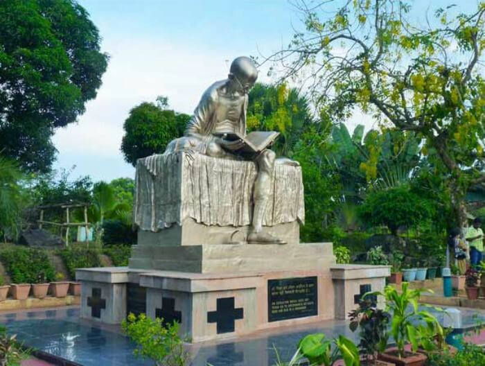 The statue of Mahatma Gandhi in the centre of the park