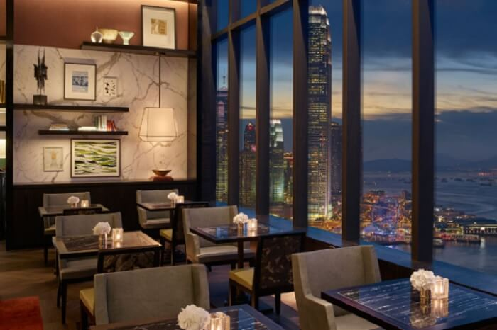 The Grand Club Lounge that is accessible only to select guests at the Grand Hyatt hotel in Hong Kong