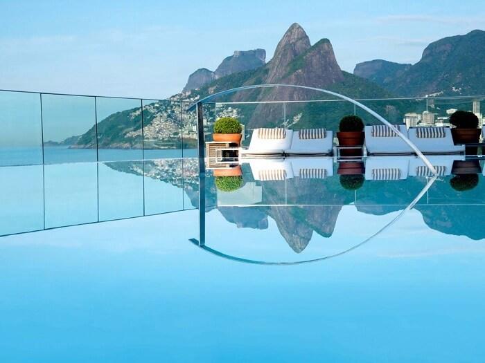 Amazing view of hills from pool in Hotel Fasano, Rio de Janeiro, Brazil