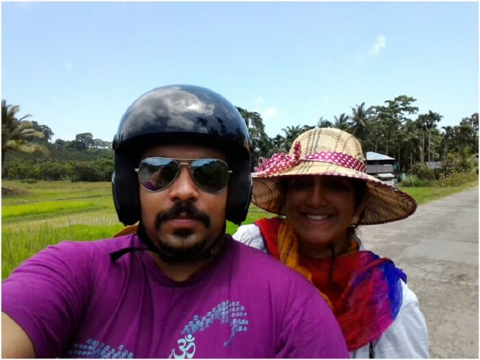 Aashish and his wife on a scooter in Andaman