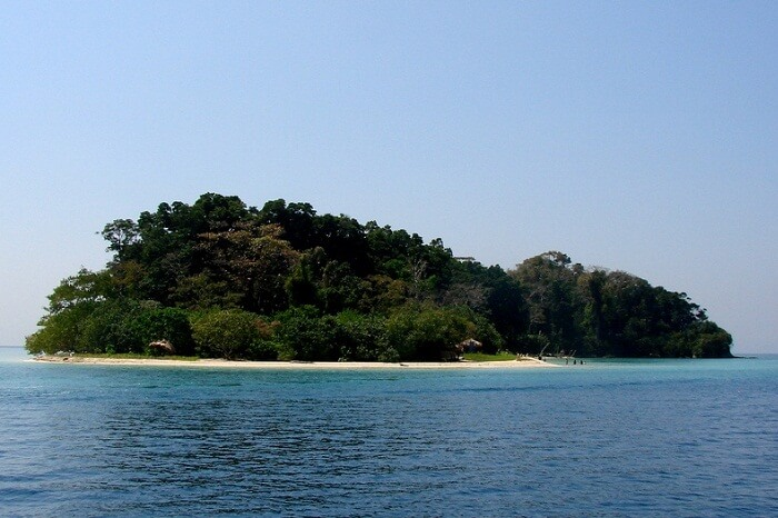 A distant view of the Jolly Buoy island that is a part of the Mahatma Gandhi National Park