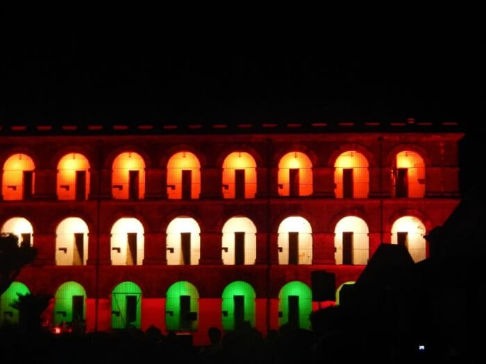 Cellular Jail adorned in the tricolors of the Indian flag during the Light and Sound Show