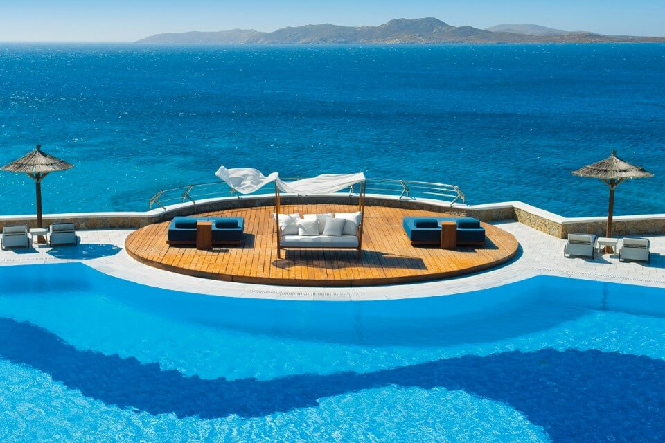 Pool overlooking the sea at Mykonos Grand Hotel & Resort Pool Greece