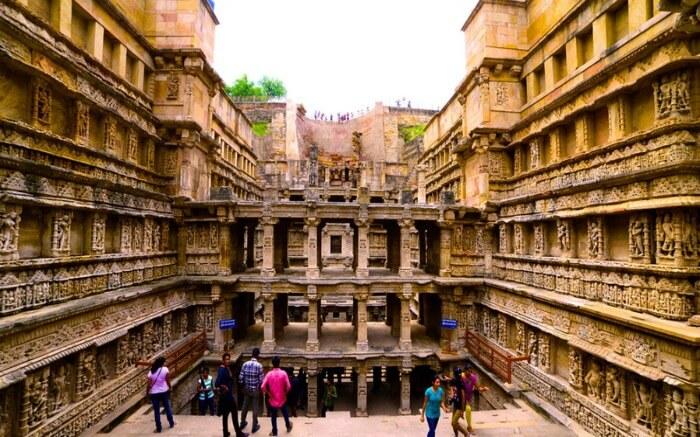 The seven stories held up by pillars at Rani ki Vav