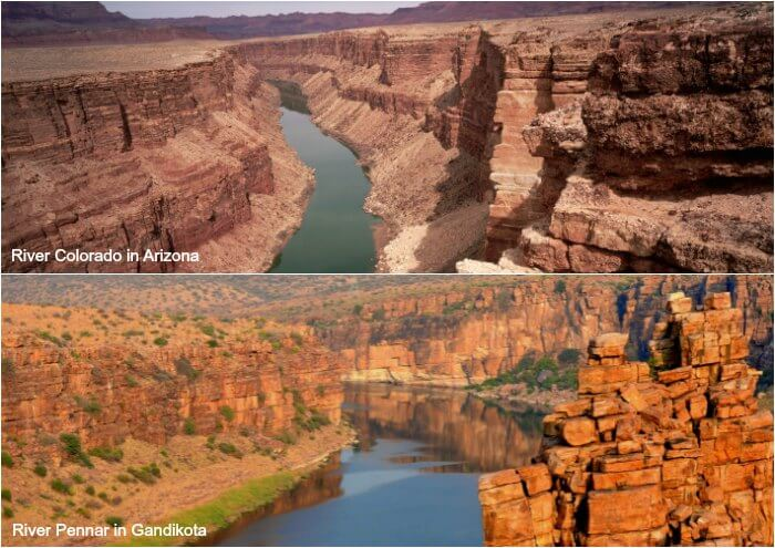 comparison between the Pennar river of Gandikota and River Colorado of Arizona