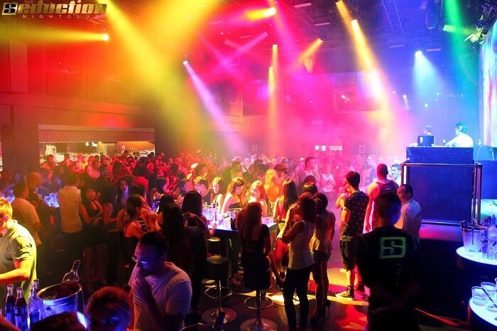 The crowd dancing on foot-tapping music at the Seduction nightclub in Phuket