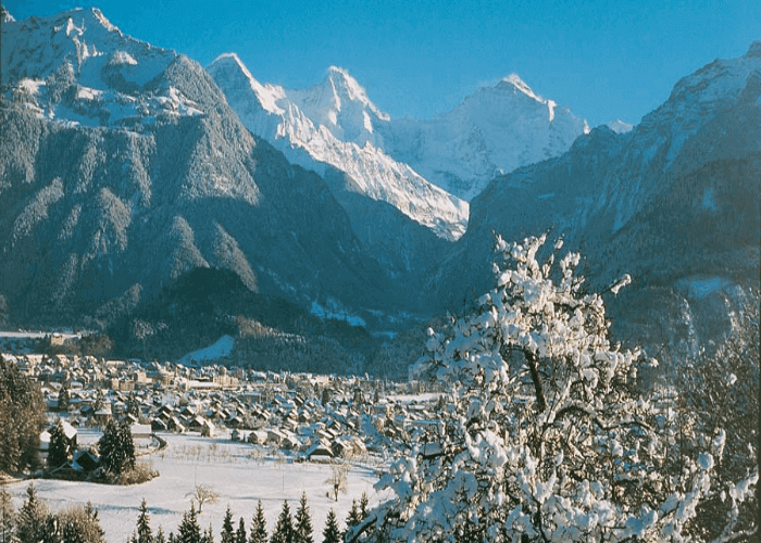 The landscapes of Interlaken covered in snow