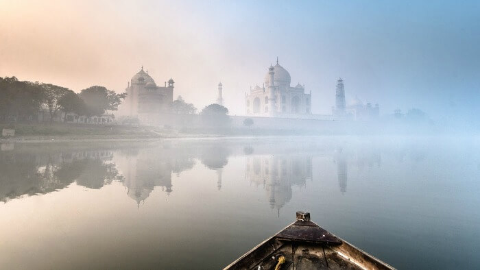 Row a boat on the Yamuna and behold lovely views of the Taj Mahal