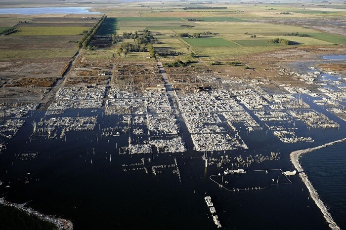 An aerial shot of the ruins of Villa Epecuén in Argentina