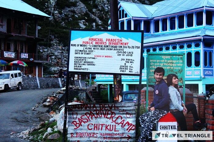 Travelers in Chitkul village in Himachal