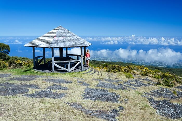 A beautiful view from a hut on the side of a volcano