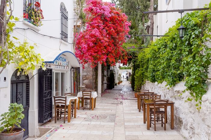A shot of a narrow street view in Bodrum