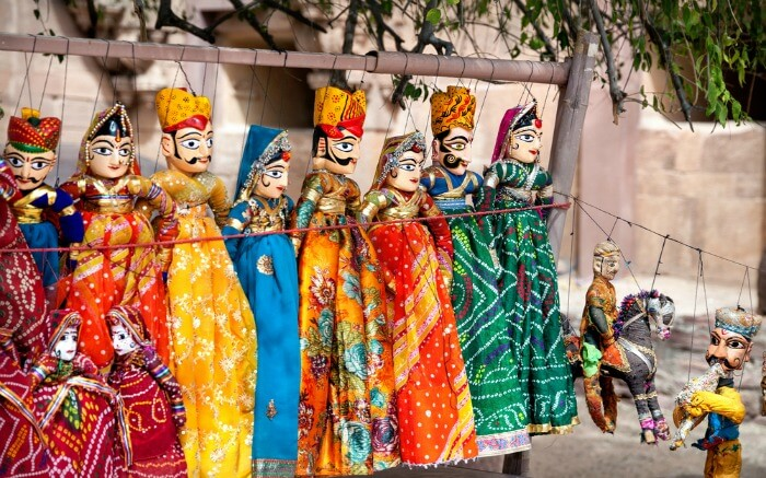 Colorful puppets displayed at Rajasthan shopping places