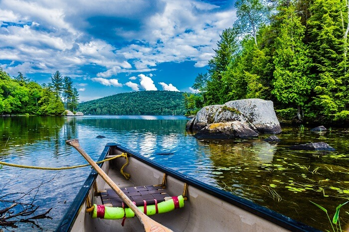 Canoeing on a lake in Quebec