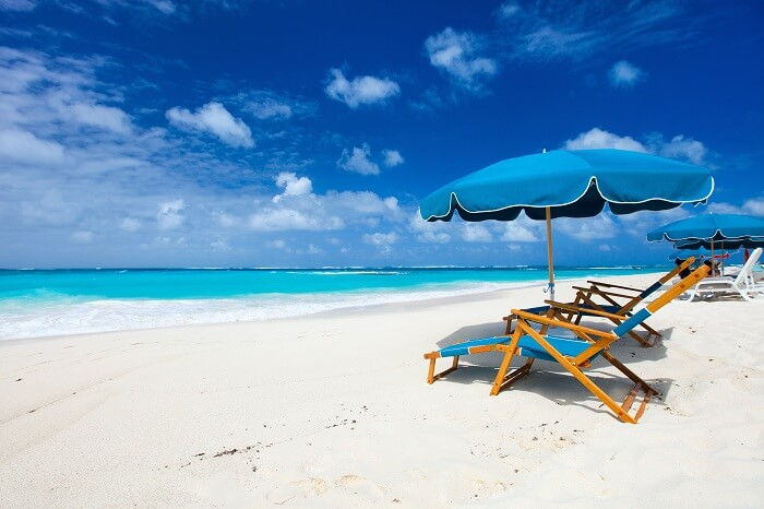 Chairs and umbrella on a beautiful tropical beach at Anguilla